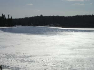 The lake is thawing at a good rate.