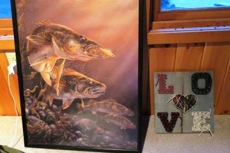 fish poster and string art